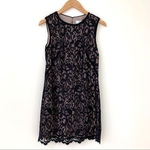 AT Loft   Black Overlay Lace Sleeveless Dress